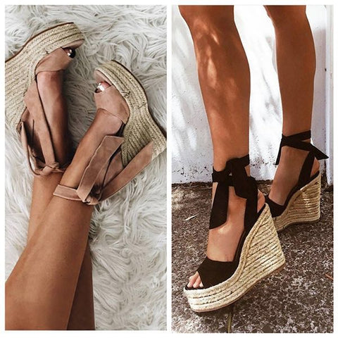 pumps peep toe lace up wedge sandals RI