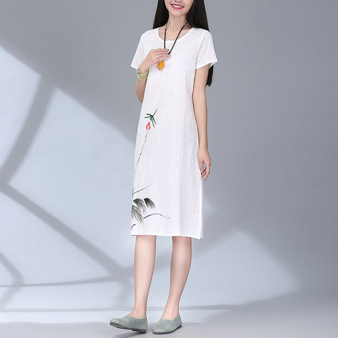 dress women new fashion cotton linen vintage print casual