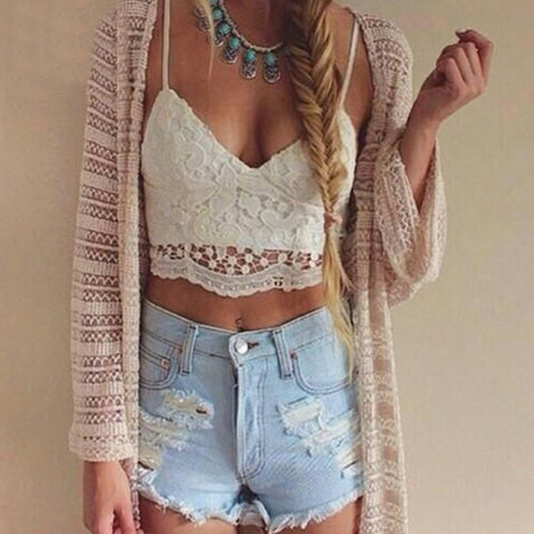 black white lace bralette Tank top