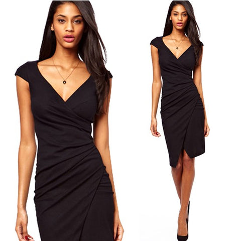 Women's Sexy V Neck Bodycon Dress