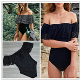 Off The Shoulder Solid One piece Bikini