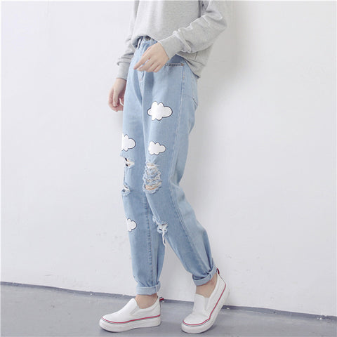 Boyfriend Cut Cloud Print Ripped Jeans Women Pants