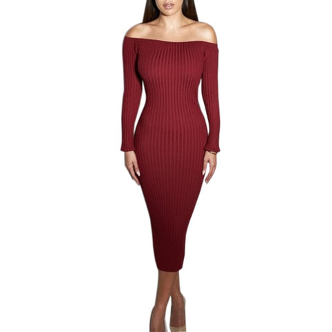 Long Sleeve Off Shoulder Knitted Dress