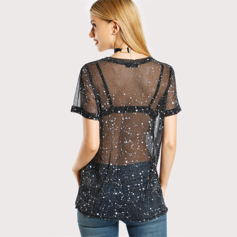 Star Mesh Top Black Short Sleeve tops