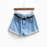 Short Jeans Blue and Belt Cuffed Pants