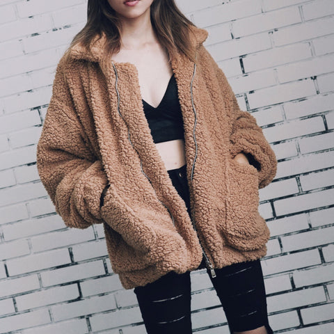 Camel Fluffy Shaggy Jacket