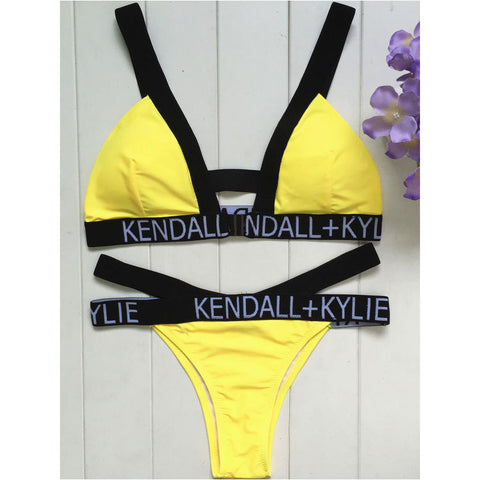 High Waist Yellow Bikinis
