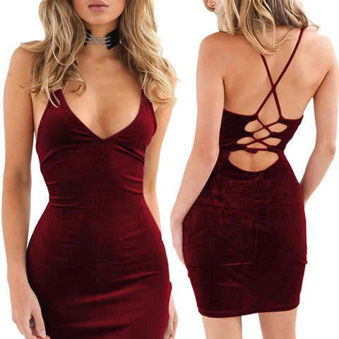 Velvet Bodycon Pencil Midi Dress