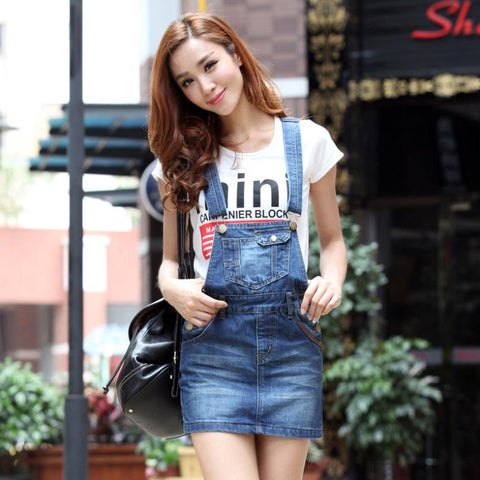 Wrapped Hip Denim Overalls dress