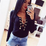 Tops Sexy Deep V Neck Lace Up Bodysuit