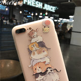 Niceking Cute Cartoon Matte TPU Soft Back Cover Phone Cases For iPhone 6S 6 7 8 Plus