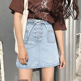 Lace Up A-line Denim Mini Skirt