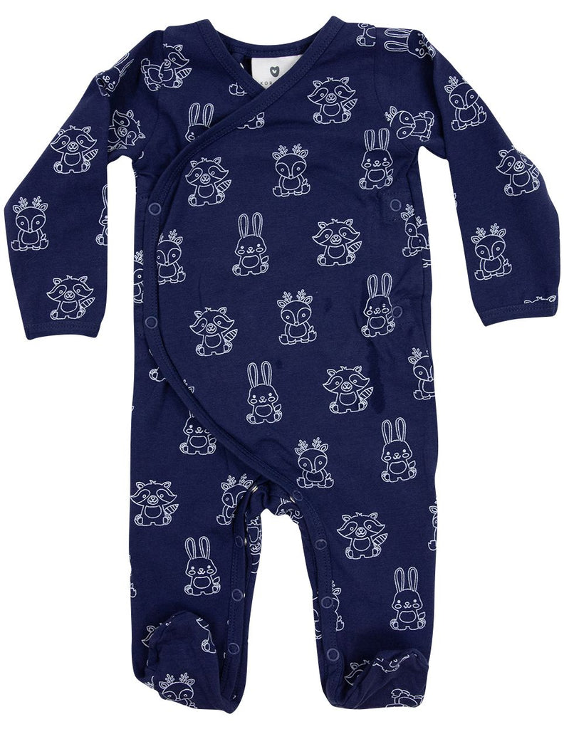 B1601NP Forest Friends Organic L/S Romper