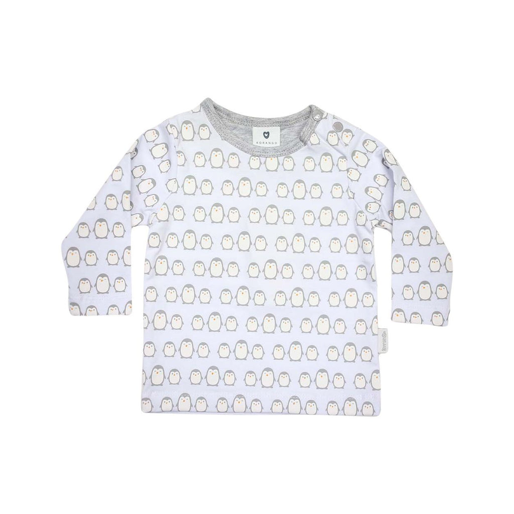B13020G Baby Penguin Printed Long Sleeve Top-Tops-Korango