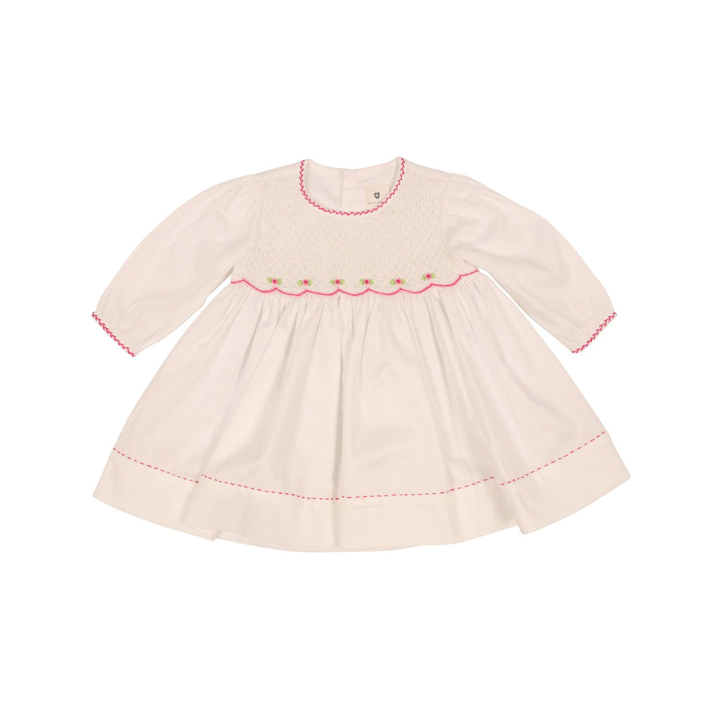 C9003 Rosettes Twill Smocked Dress