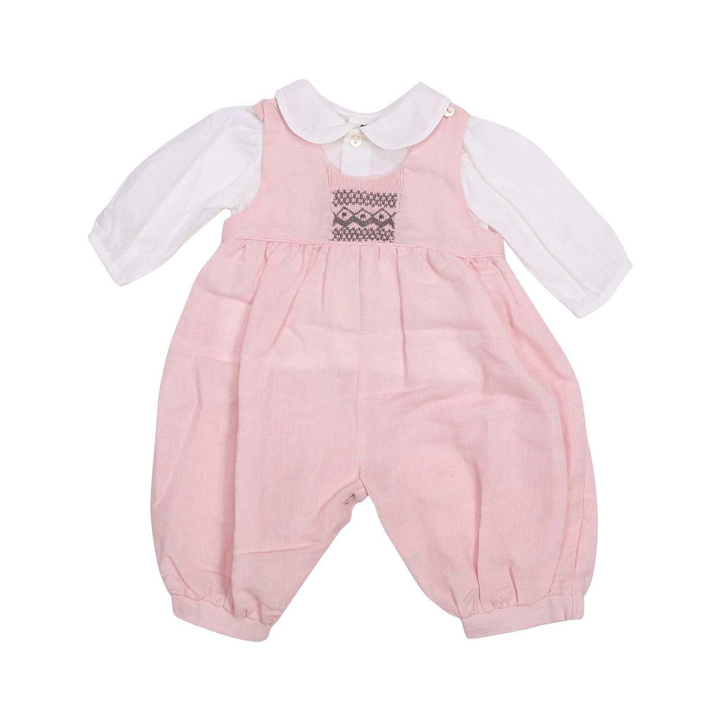 C13017P Classique Girl Linen Hand Smocked Overall with Blouse-Sets-Korango