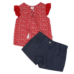 A1423R Cherries Blouse and Short Set