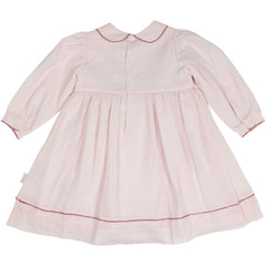 C1501P Natural Class Collared Smocked voile Dress with hand embroidered bows