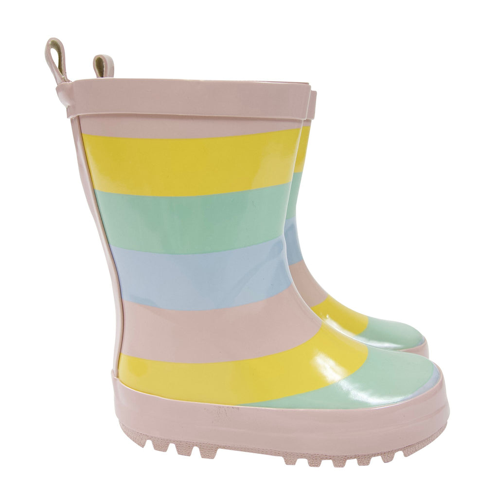 A1751S Rainwear Girls Striped Rain Boot