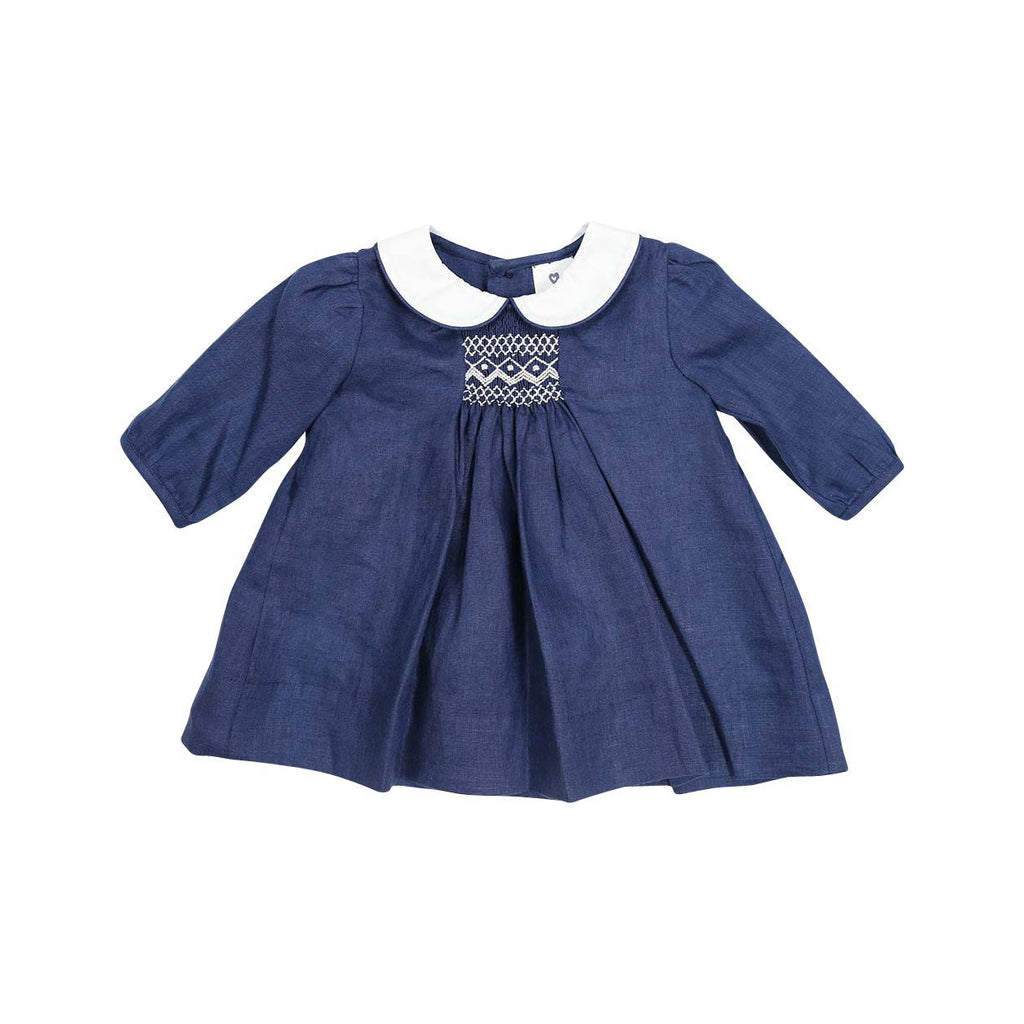 C13016N Classique Girl Linen Hand Smocked Dress with Collar-Dresses-Korango