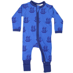 B1201B Pirate Ships Long Sleeve Romper-All In Ones-Korango