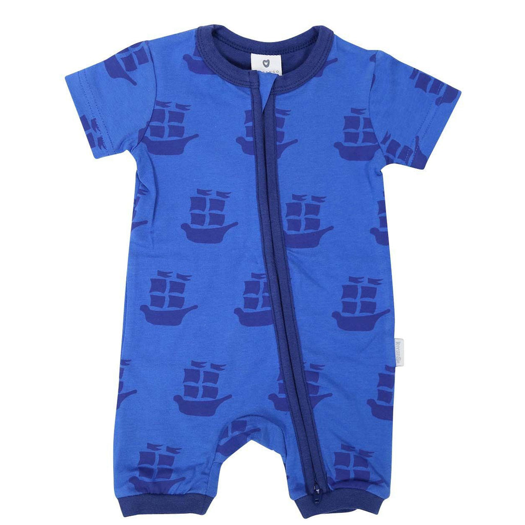 B1202B Pirate Ships Zip Short Sleeve Romper-All In Ones-Korango