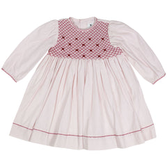 C1502P Natural Class Full Smocked twill Dress with hand embroidered bows
