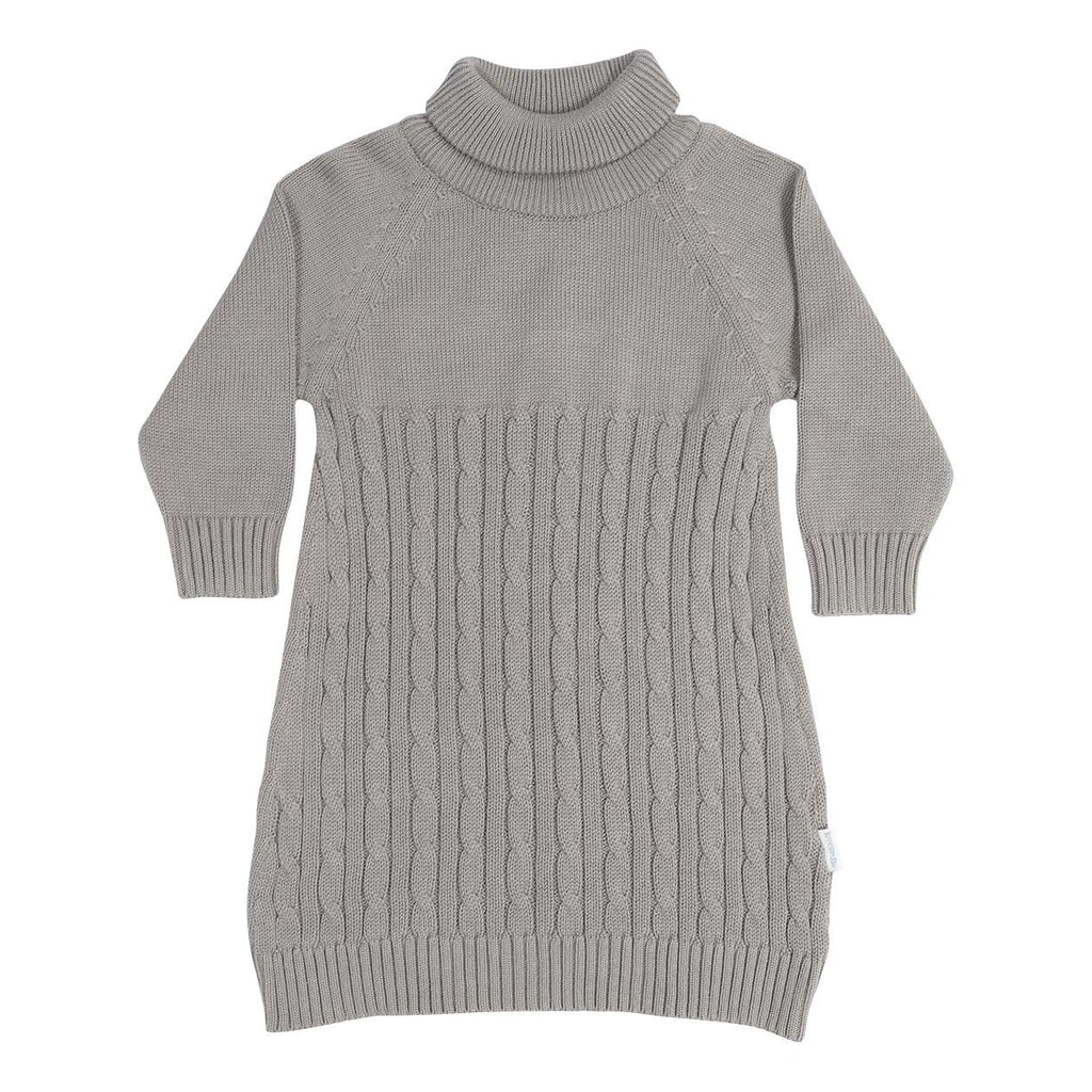 C13025G Vamos Vintage Girls Cable Knit Turtle Neck Dress-Dresses-Korango