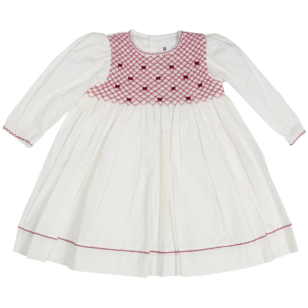 C1502I Natural Class Full Smocked twill Dress with hand embroidered bows