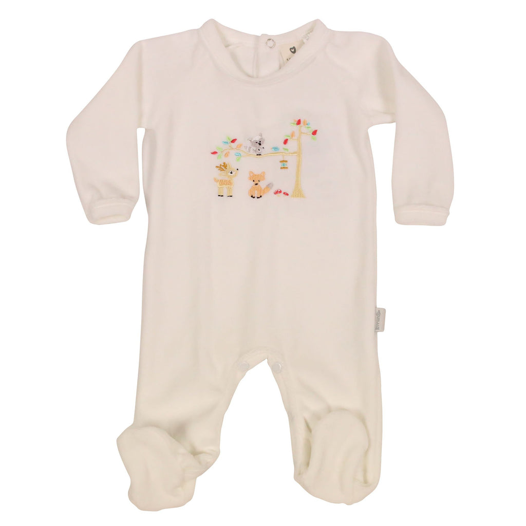 B9025W Forest Friends Velour Romper-All In Ones-Korango