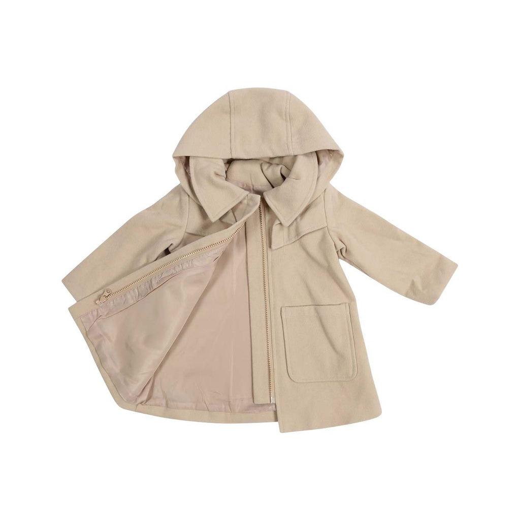 C13028B Vamos Vintage Girls Zip Lined Overcoat with Hood-Cardigans/Sweaters/Jackets-Korango
