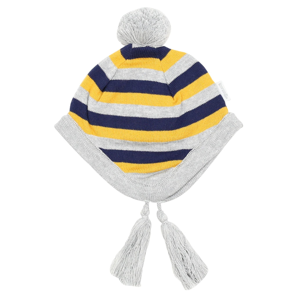 A1506G Polar Bear Striped Knit Beanie
