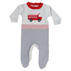 C13007G Fire Truck Appliqued Stripe Knit Romper-All In Ones-Korango