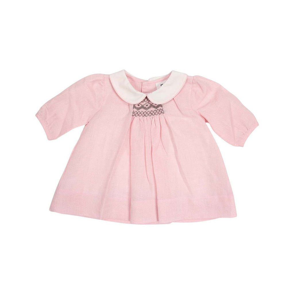 C13016P Classique Girl Linen Hand Smocked Dress with Collar-Dresses-Korango