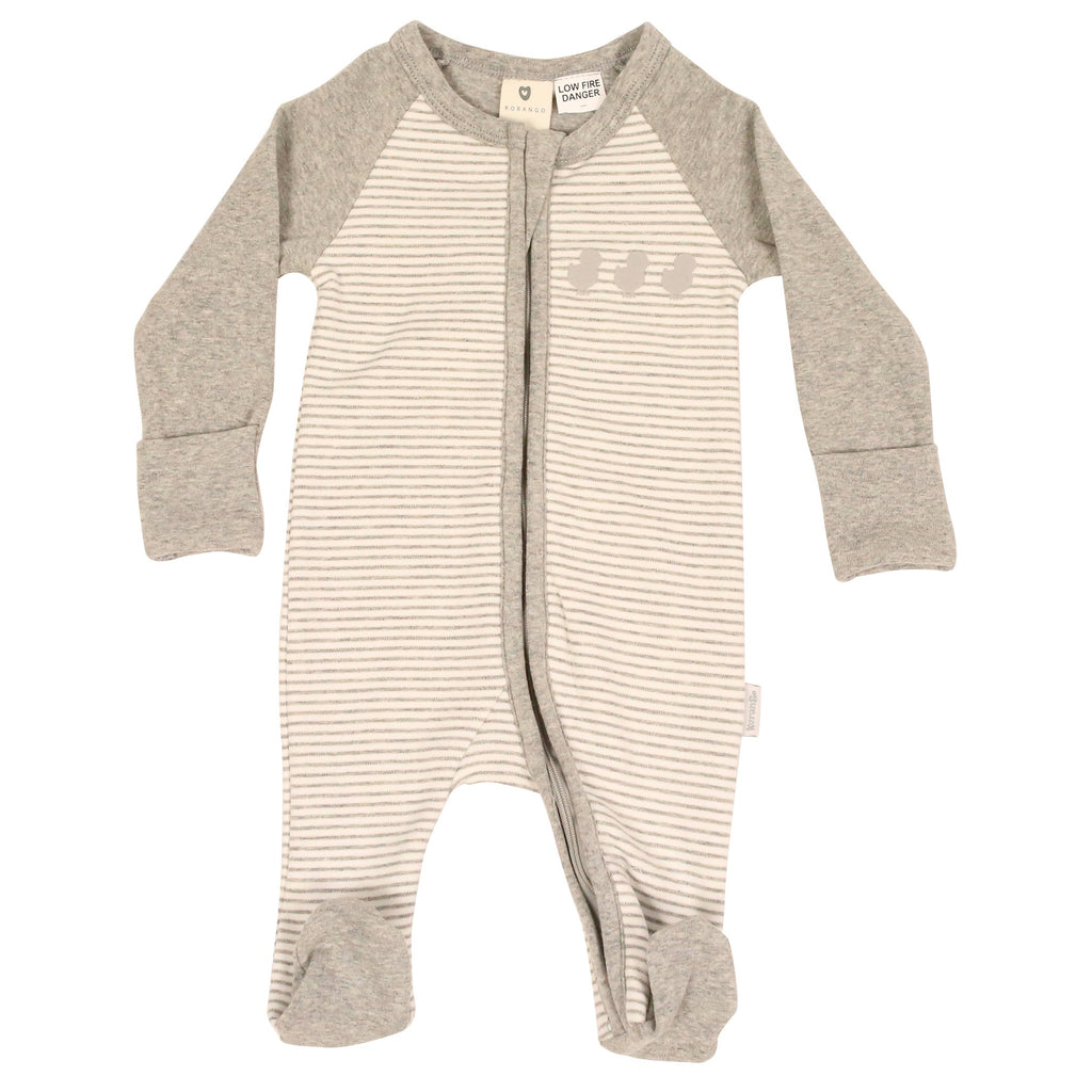 B9019G Plush Baby Zip Romper-All In Ones-Korango