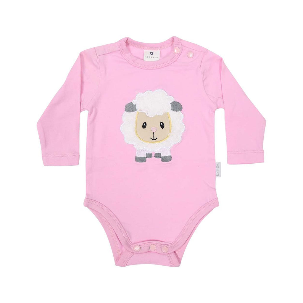 B13025P Baa Baa White Sheep Bodysuit with Applique-All In Ones-Korango