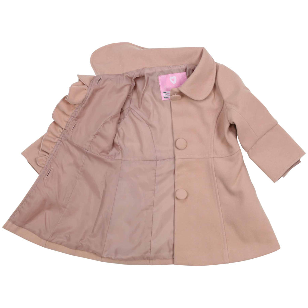 C1530P Natural Girl,Baby Girl Long Style Fitted Duffle Coat