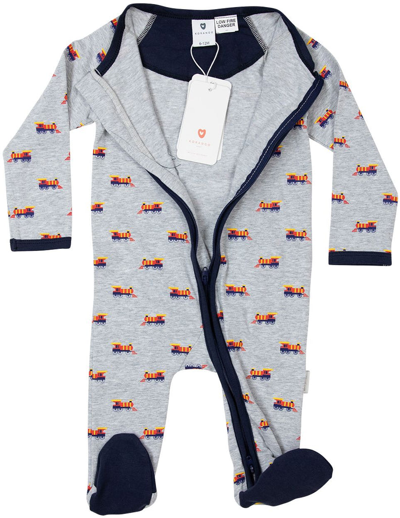 B1605G Train Long Sleeve Printed Zip Romper