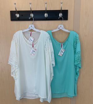Lace Sleeve Accent Tops