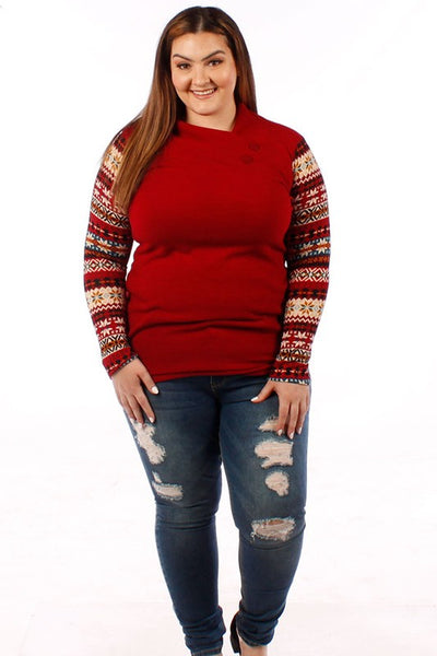 Accent Sleeve Sweater w/ Button Neckline- Red