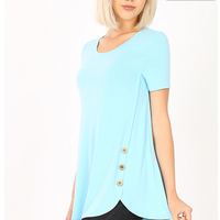 Short Sleeve Double Button Tops