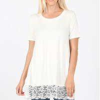 Short Sleeve Lace Bottom Top