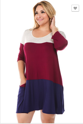 Burgundy/Navy Pocket Tunic/Dress