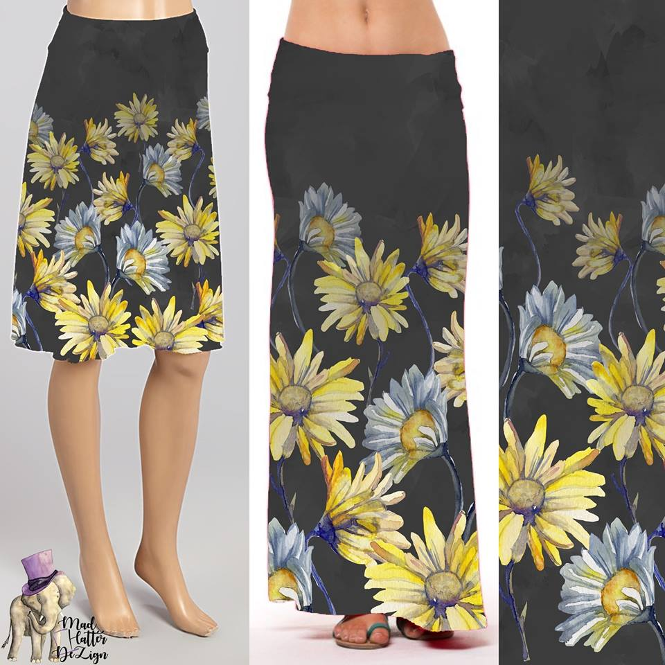 Custom Daisies Midi Skirt