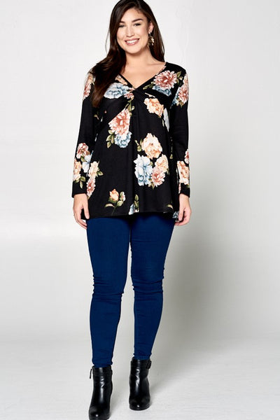 Twisted Knot Deep V Floral Top-Black