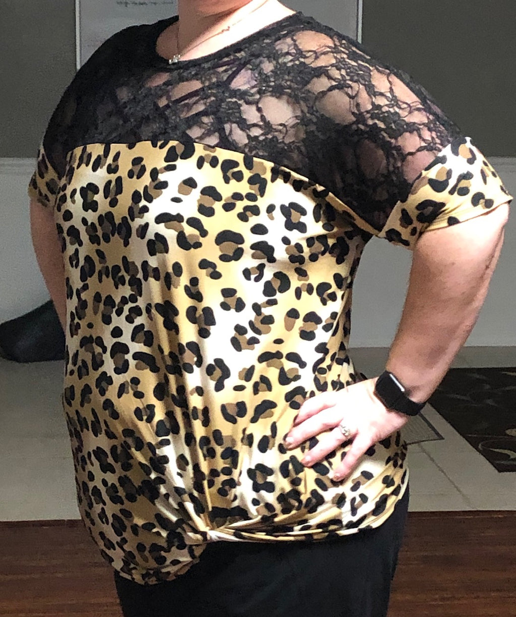 Leopard Contrast Lace Tunic Top w/ Twist