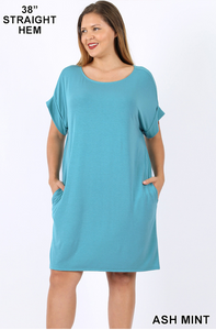 Rolled Short Sleeve Round Neck Dress-Ash Mint