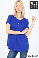 Short Sleeve Henley Style Top- Denim Blue