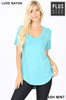 Short Sleeve V-Neck/Round Bottom Tees(Rayon)