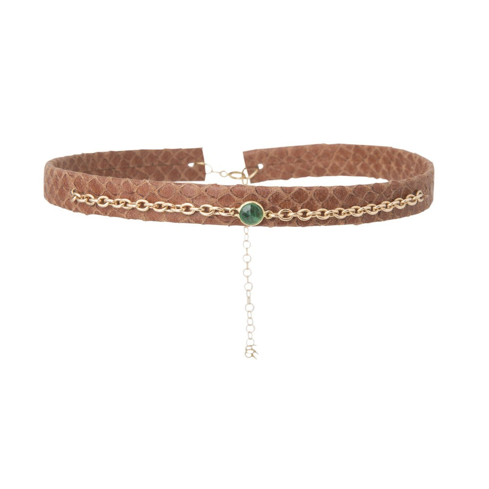 Brown Leather Choker with Emerald Accent Chain